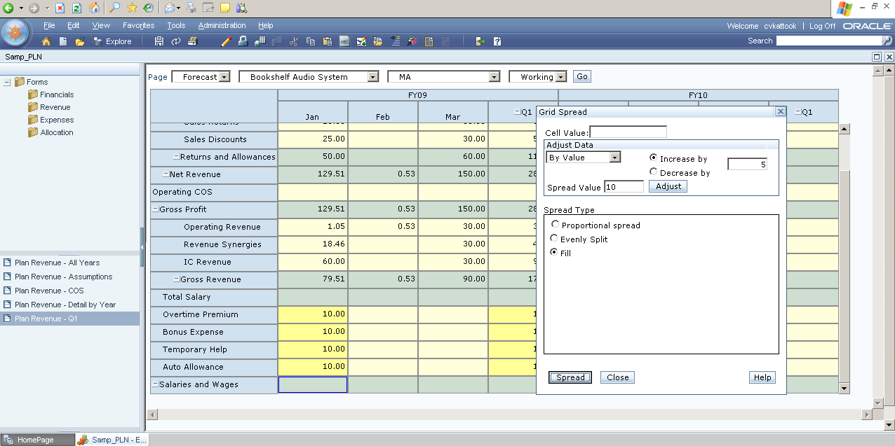 Customize Grid Spread in Hyperion Planning ~ Oracle