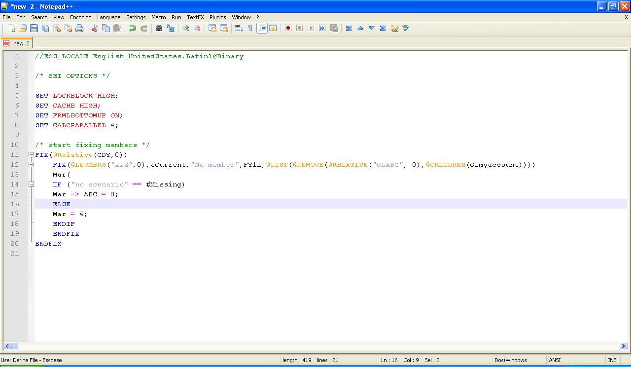 Essbase language for Notepad++ ~ Oracle - Hyperion Labs